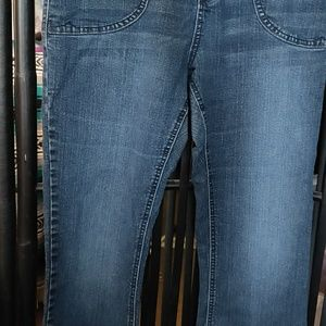 DOTS FLARED BLUE JEANS Size14
